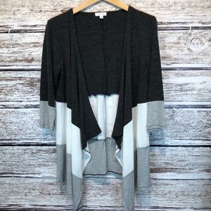 Eyeshadow Gray Tri-Color Open Front Cardigan L